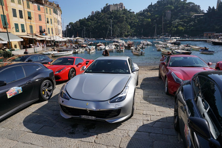 PORTOFINO, ITALY - OCTOBER 20, 2018 - Ferrari holds 70 years anniversary celebration with a supercar convention, The new Ferrari Portofino is in its home town village Editorial