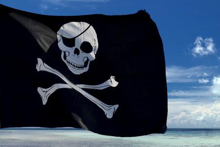 waving pirate flag jolly roger on sky background 版權商用圖片