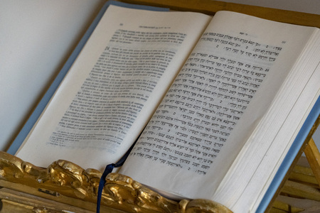 Rabbi book bilingual close up