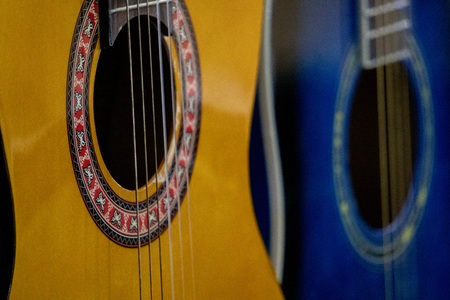 old acoustic guitar detail close up