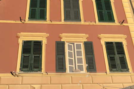painted houses in Camogli, Liguria, Italy picturesque fishermen village