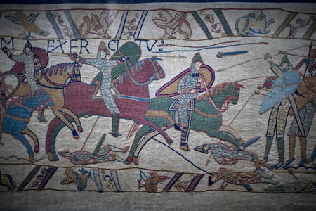 bayeux medieval tapestry battle england france detail close up Stock Photo