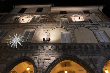 Chiavari historical medieval village portici neri palace with lights for christmas Editorial