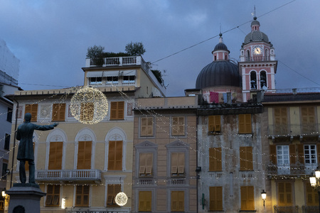 Chiavari historical medieval village street lights for christmas