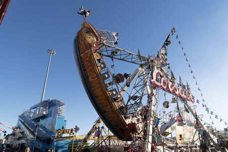 GENOA, ITALY - DECEMBER, 9 2018 - Traditional Christmas Luna Park Fun Fair is opened the largest in europe with more than 15000 visitors per day Editorial