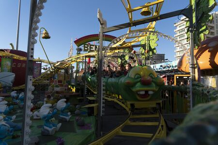 GENOA, ITALY - DECEMBER, 9 2018 - Traditional Christmas Luna Park Fun Fair is opened the largest in europe with more than 15000 visitors per day