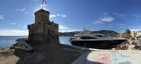 Yachts destroyed by storm hurrican in Rapallo, Liguria, Italy