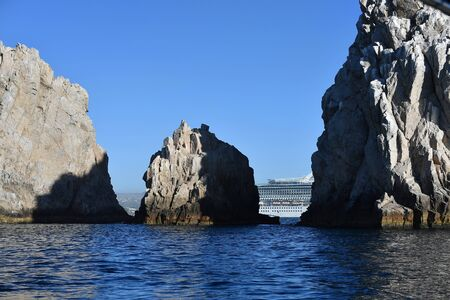 CABO SAN LUCAS, MEXICO - JANUARY 25 2018 - Cabo is an anchor port for all cruises sailing on Mexico's Riviera itineraries. There's no cruise pier, so all ships must anchor and tender passengers to the port