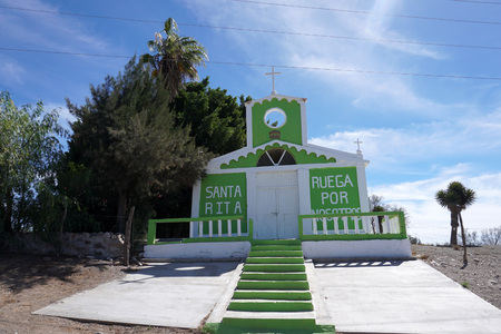 green and white Church Mission of Santa Ros Baja California Sur