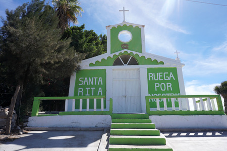 green and white Church Mission of Santa Ros Baja California Sur