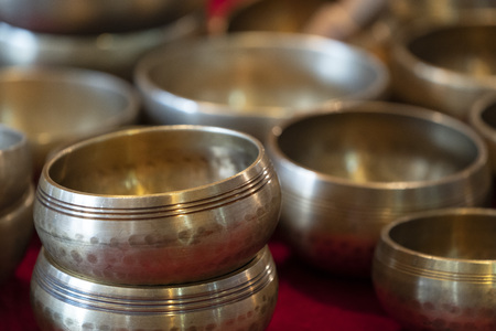 traditional bronze tibetan bell detail