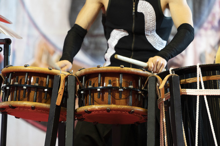 Japanese drum player in action