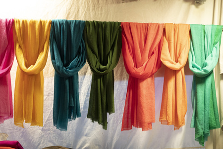 silk pashmina at the market different colors