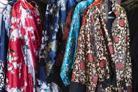 many japanese kimono dress at the market detail Stok Fotoğraf