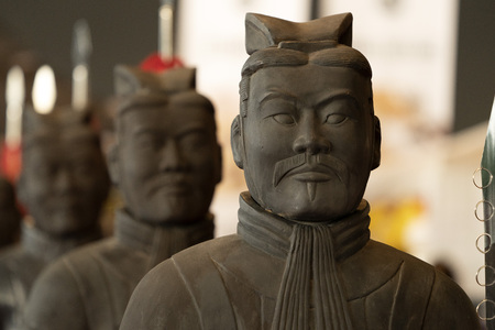 terre cuite armée guerrier statue fermer détail