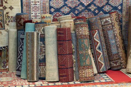 persian carpet colorful old antique vintage in the market 版權商用圖片