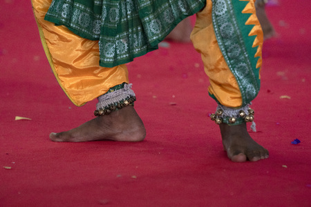 Indian traditional dancer foot detail