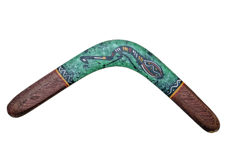 australia wooden boomerang isolated on white Stock Photo