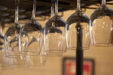 wine glass hanging close up