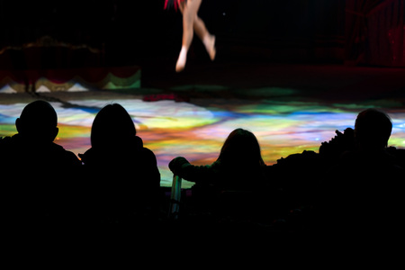 circus audience silhouette on multi color light