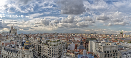 Madrid Spain aerial panorama cityscape on sunny cloudy day