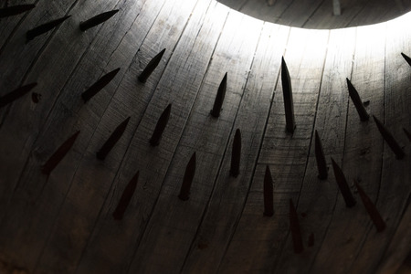 barrel with spikes medieval roman torture system detail