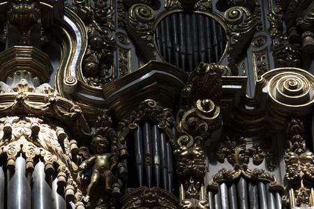 old church organ pipe detail close up