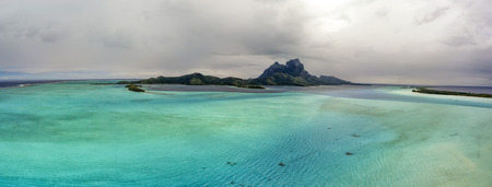 Bora Bora aerial landscape french polynesia panorama blue lagoon