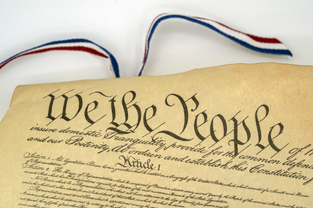 we the people usa constitution paper on white background
