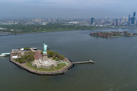 statue of liberty aerial view from helicopter
