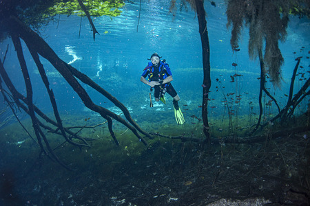 Cave scuba diving in mexican cenotes