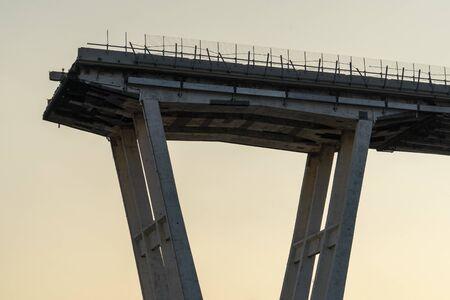 morandi collapsed bridge in genoa italy Stock Photo