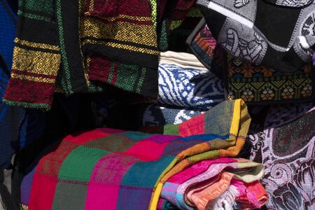 mexican many colors ponchos for sale at the market