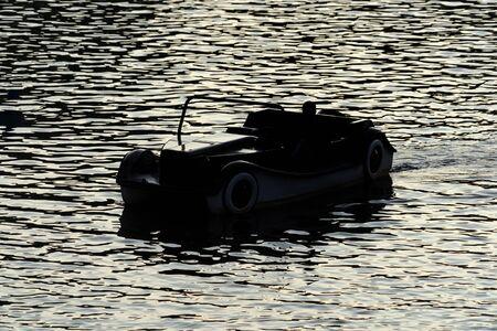 old car style boat in river moldova prague Stockfoto