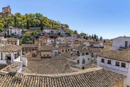 Granada spain terracotta tiles roofs view