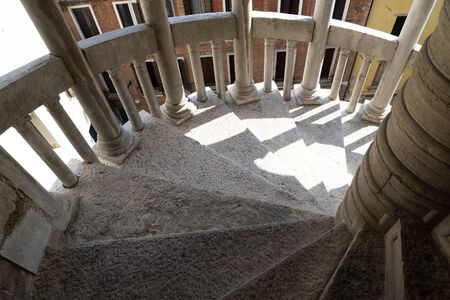 Contarini del Bovolo palace venice spiral stairway Stok Fotoğraf