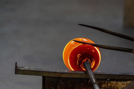 inside Murano glass factory Venice Italy close up detail