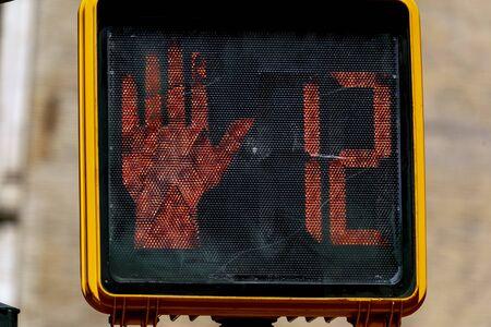 pedestrian traffic light no walk in new york city usa 12 seconds