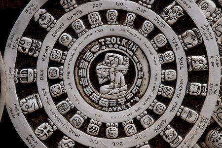 Maya aztec mexican calendar stone close up