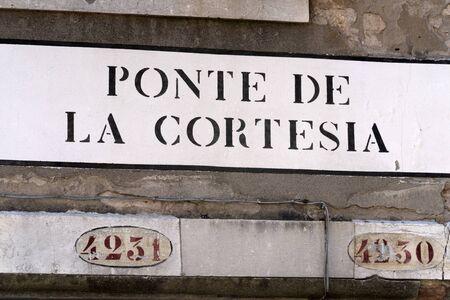 Venice ponte della cortesia english translation kindness courtesy bridge sign