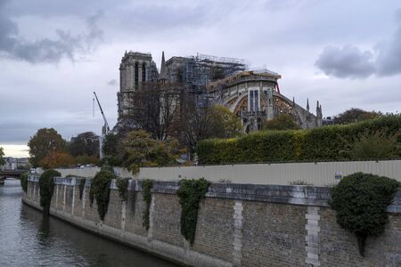 Notre dame paris under restoration detail