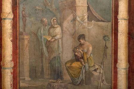 peinture romaine antique pompéi détail fermer