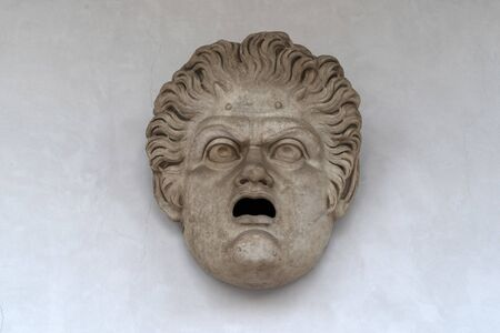 theater mask Bath of Diocletian in Rome view