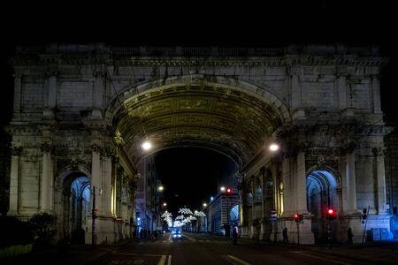 Genoa, Italy Monumental bridge at night in christamas time
