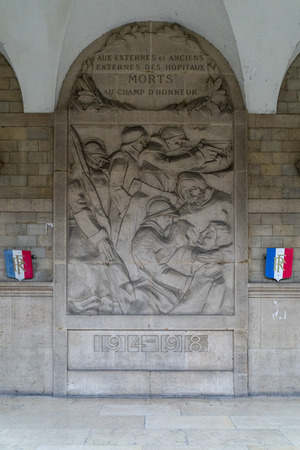 I world war memorial hotel dieu hospital in Paris France view