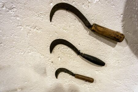 old sickle knife tool different sizes