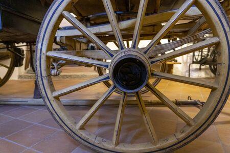 Old wagon wheel detail close up