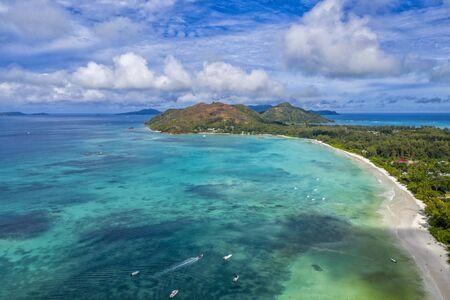 seychelles paradise beach aerial drone panorama landscape of praslin island anse volbert