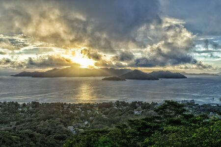 seychelles sunset on praslin island from la digue lookout top of the hill