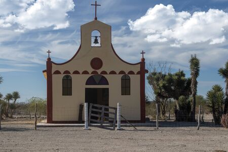 baja california sur desert church on blue sky background